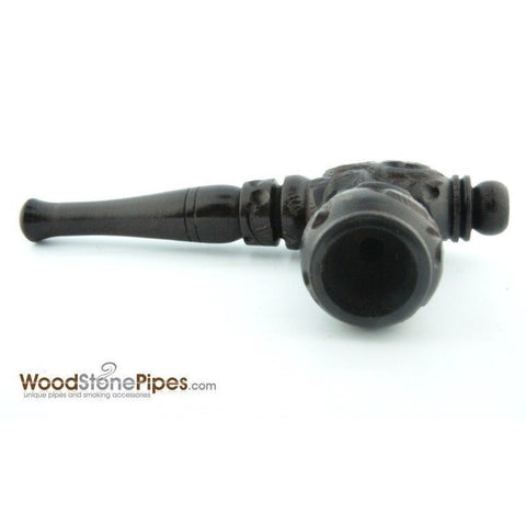 "4"" Carved Collectible Ebony Wooden Handmade Smoking Tobacco Pipe - WoodStonePipes.com   - 4"