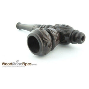 "4"" Carved Collectible Ebony Wooden Handmade Smoking Tobacco Pipe - WoodStonePipes.com   - 5"