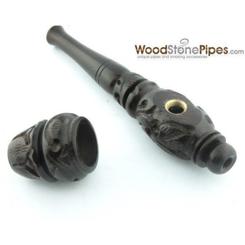 "4"" Carved Collectible Ebony Wooden Handmade Smoking Tobacco Pipe - WoodStonePipes.com   - 6"