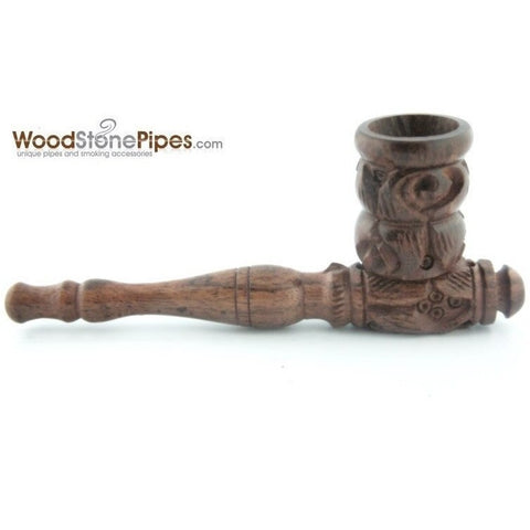 "4"" Carved Collectible Rosewood Handmade Tobacco Smoking Pipe - WoodStonePipes.com   - 1"