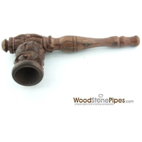 "4"" Carved Collectible Rosewood Handmade Tobacco Smoking Pipe - WoodStonePipes.com   - 3"