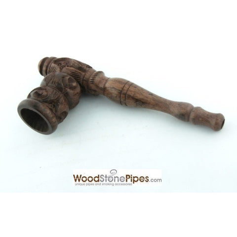 "4"" Carved Collectible Rosewood Handmade Tobacco Smoking Pipe - WoodStonePipes.com   - 5"
