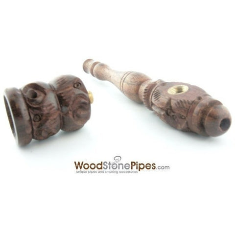 "4"" Carved Collectible Rosewood Handmade Tobacco Smoking Pipe - WoodStonePipes.com   - 6"