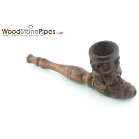 "4"" Carved Collectible Rosewood Handmade Tobacco Smoking Pipe - WoodStonePipes.com   - 7"