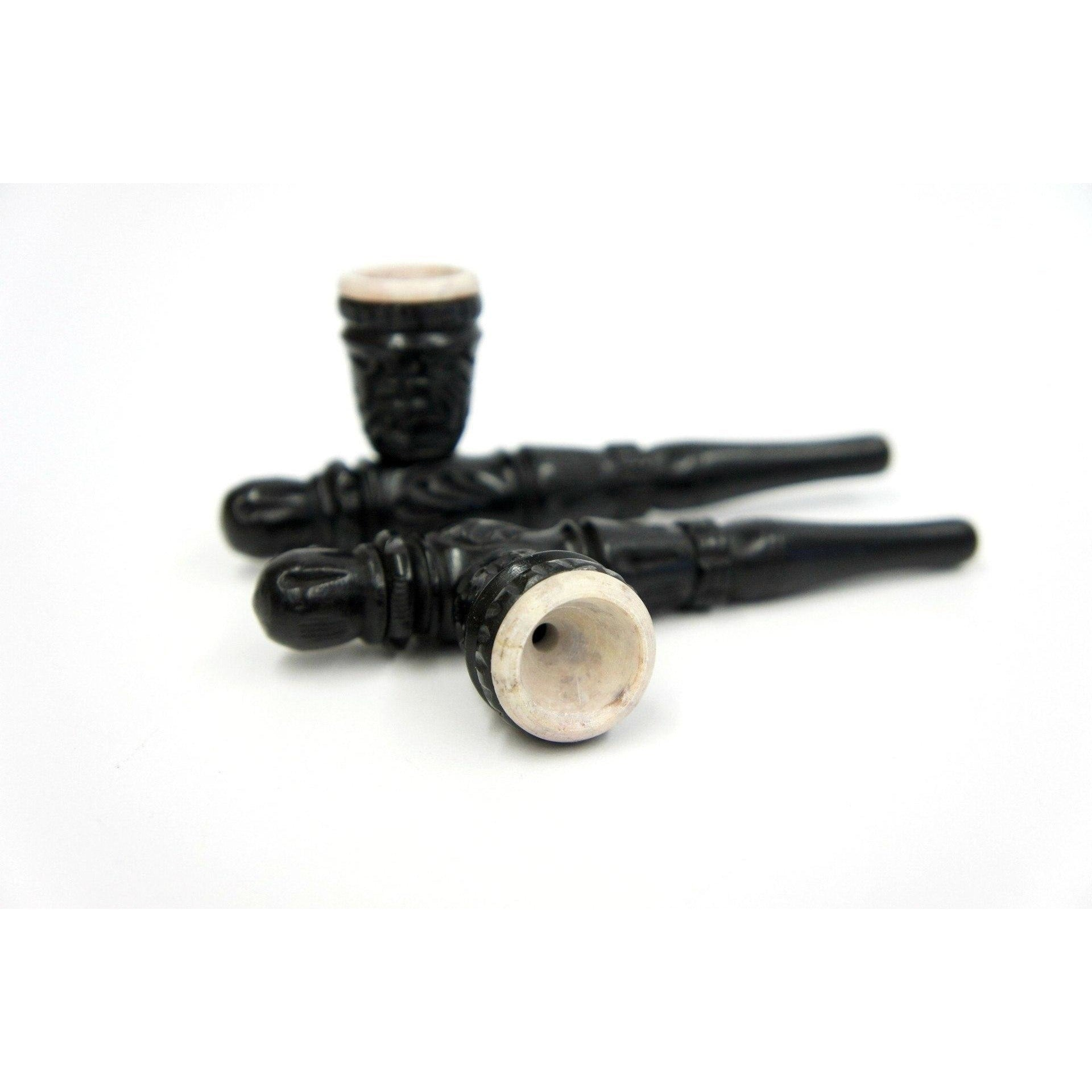 "4"" Tribe Carved Ebony Handmade Smoking Tobacco Pipe with Stone Bowl - WoodStonePipes.com   - 1"