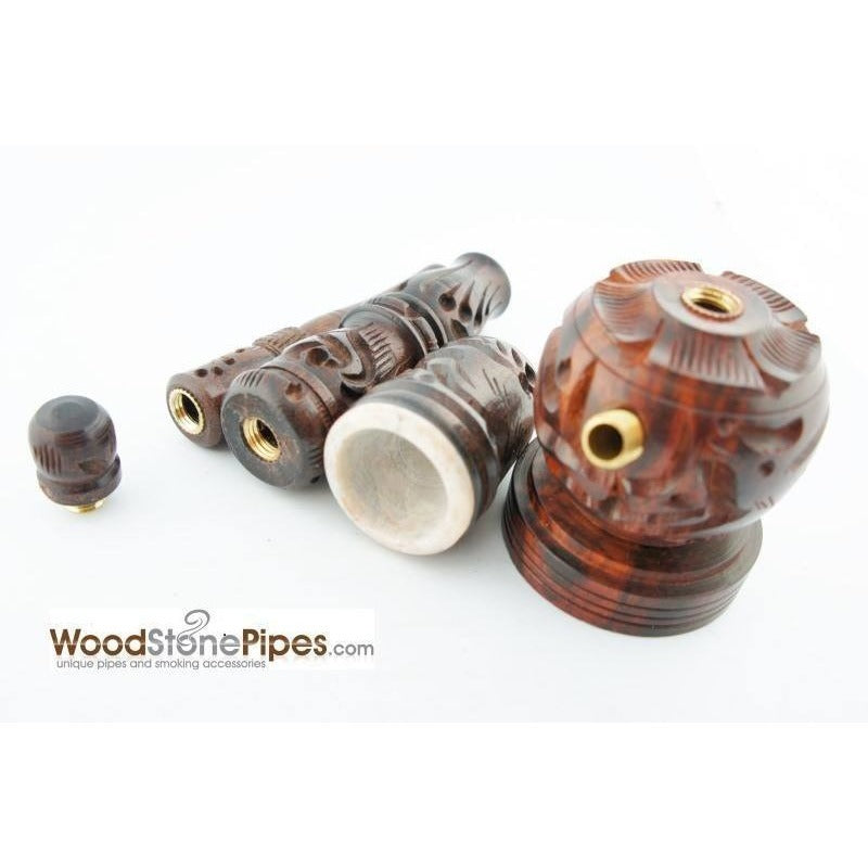 "6.5"" Carved Rosewood Tobacco Pipe 3 in 1 with Stone Bowl - Hookah Style Pipe - WoodStonePipes.com   - 10"
