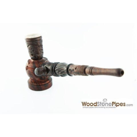 "6.5"" Carved Rosewood Tobacco Pipe 3 in 1 with Stone Bowl - Hookah Style Pipe - WoodStonePipes.com   - 11"