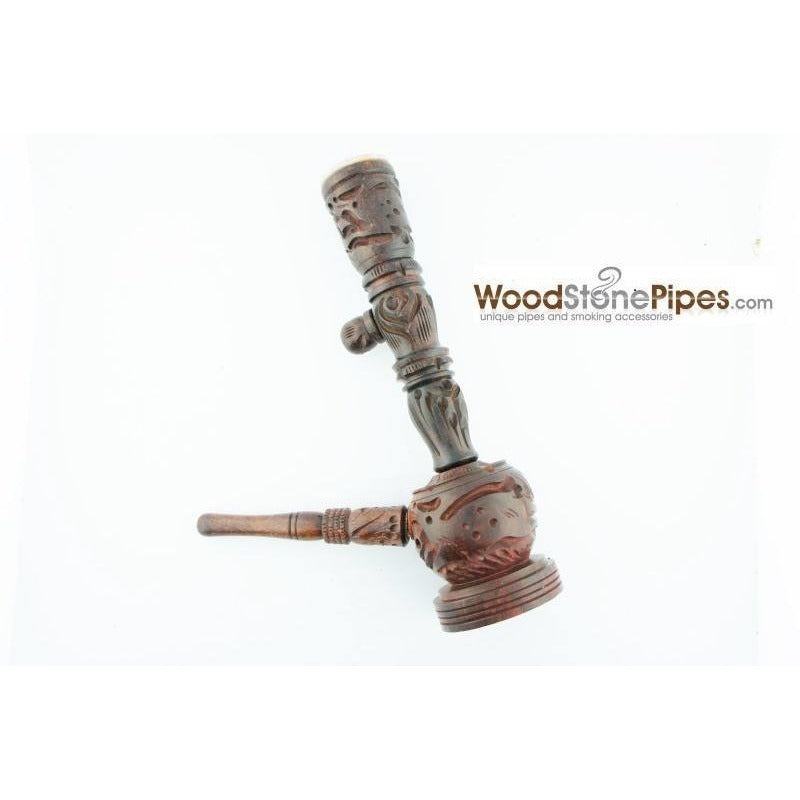 "6.5"" Carved Rosewood Tobacco Pipe 3 in 1 with Stone Bowl - Hookah Style Pipe - WoodStonePipes.com   - 1"