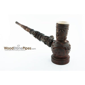 "6.5"" Carved Rosewood Tobacco Pipe 3 in 1 with Stone Bowl - Hookah Style Pipe - WoodStonePipes.com   - 2"