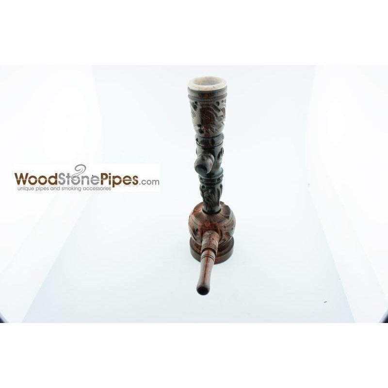 "6.5"" Carved Rosewood Tobacco Pipe 3 in 1 with Stone Bowl - Hookah Style Pipe - WoodStonePipes.com   - 4"
