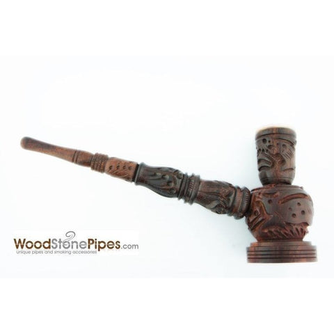 "6.5"" Carved Rosewood Tobacco Pipe 3 in 1 with Stone Bowl - Hookah Style Pipe - WoodStonePipes.com   - 5"