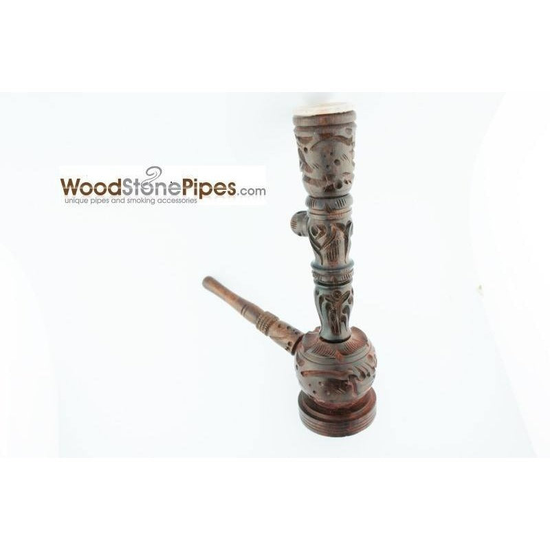 "6.5"" Carved Rosewood Tobacco Pipe 3 in 1 with Stone Bowl - Hookah Style Pipe - WoodStonePipes.com   - 6"