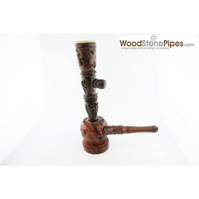 "6.5"" Carved Rosewood Tobacco Pipe 3 in 1 with Stone Bowl - Hookah Style Pipe - WoodStonePipes.com   - 7"