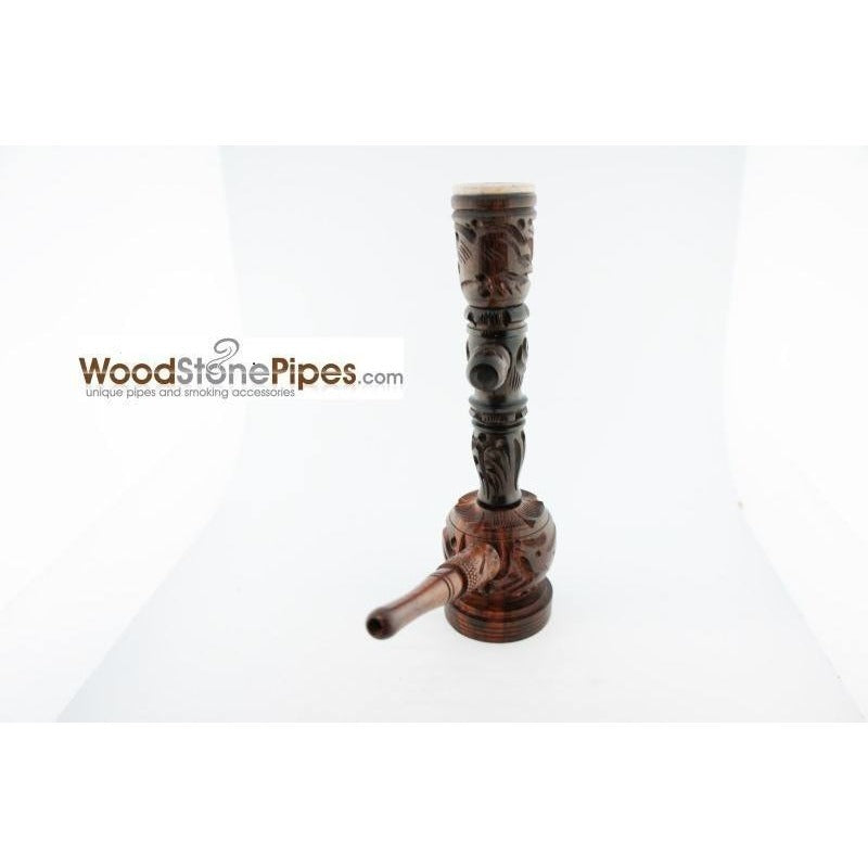 "6.5"" Carved Rosewood Tobacco Pipe 3 in 1 with Stone Bowl - Hookah Style Pipe - WoodStonePipes.com   - 8"