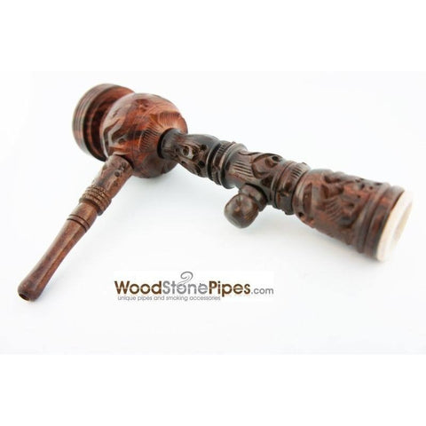 "6.5"" Carved Rosewood Tobacco Pipe 3 in 1 with Stone Bowl - Hookah Style Pipe - WoodStonePipes.com   - 9"