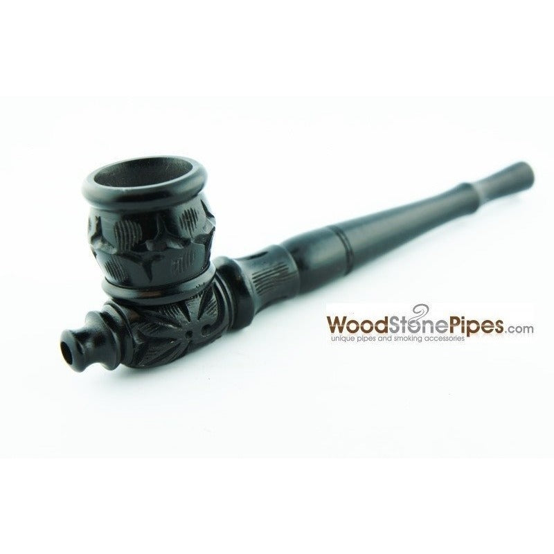 "Black Ebony Wood Collectible 6"" Smoking Tobacco Pipe - with Carved Flower Design - WoodStonePipes.com   - 1"