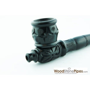 "Black Ebony Wood Collectible 6"" Smoking Tobacco Pipe - with Carved Flower Design - WoodStonePipes.com   - 2"