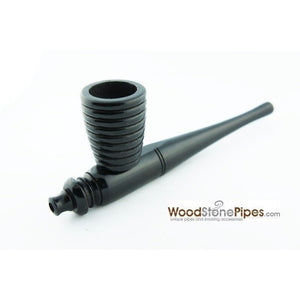 "Black Ebony Wood Handmade Carved Collectible Smoking Tobacco Pipe - 6"" - WoodStonePipes.com   - 1"