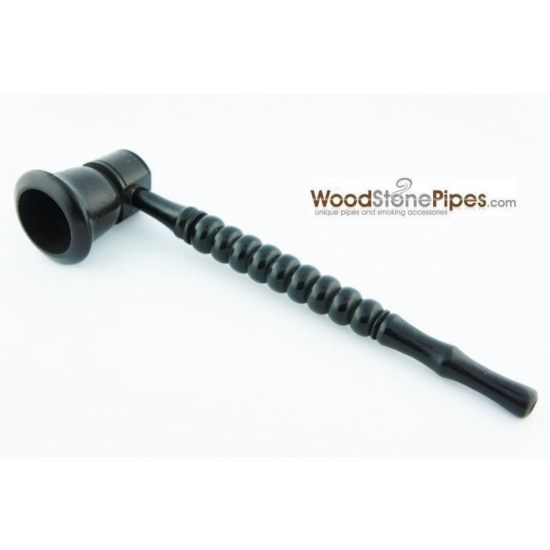 "Black Ebony Wood Handmade Carved Collectible Smoking Tobacco Pipe - 6"" - WoodStonePipes.com   - 3"