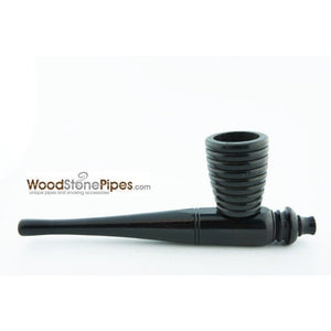 "Black Ebony Wood Handmade Carved Collectible Smoking Tobacco Pipe - 6"" - WoodStonePipes.com   - 4"