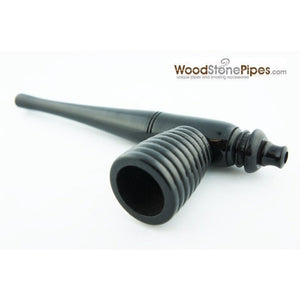 "Black Ebony Wood Handmade Carved Collectible Smoking Tobacco Pipe - 6"" - WoodStonePipes.com   - 5"