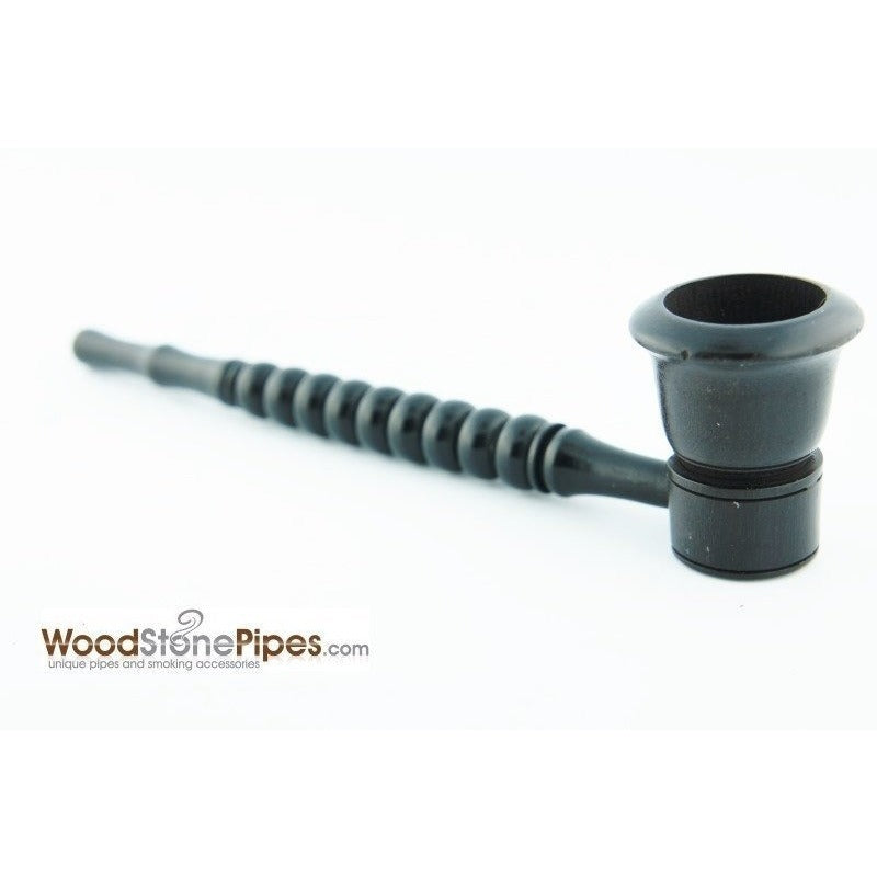 "Black Ebony Wood Handmade Carved Collectible Smoking Tobacco Pipe - 6"" - WoodStonePipes.com   - 7"