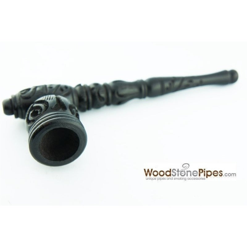 "Black Ebony Wood Wooden Carved Collectible Handmade Smoking Tobacco Pipe - 6.5"" - WoodStonePipes.com   - 1"