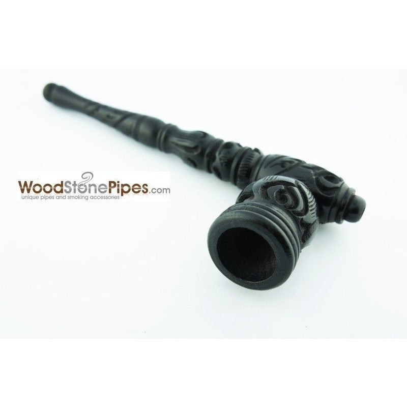 "Black Ebony Wood Wooden Carved Collectible Handmade Smoking Tobacco Pipe - 6.5"" - WoodStonePipes.com   - 2"