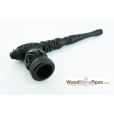 "Black Ebony Wood Wooden Carved Collectible Handmade Smoking Tobacco Pipe - 6.5"" - WoodStonePipes.com   - 3"