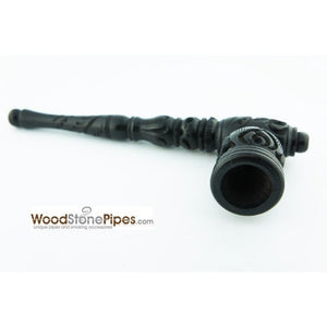 "Black Ebony Wood Wooden Carved Collectible Handmade Smoking Tobacco Pipe - 6.5"" - WoodStonePipes.com   - 4"