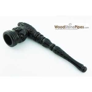 "Black Ebony Wood Wooden Carved Collectible Handmade Smoking Tobacco Pipe - 6.5"" - WoodStonePipes.com   - 5"