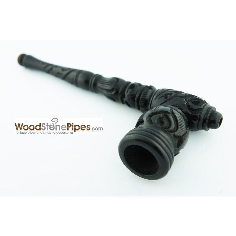"Black Ebony Wood Wooden Carved Collectible Handmade Smoking Tobacco Pipe - 6.5"" - WoodStonePipes.com   - 6"