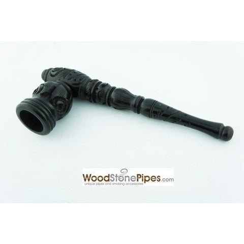 "Black Ebony Wood Wooden Carved Collectible Handmade Smoking Tobacco Pipe - 6.5"" - WoodStonePipes.com   - 7"