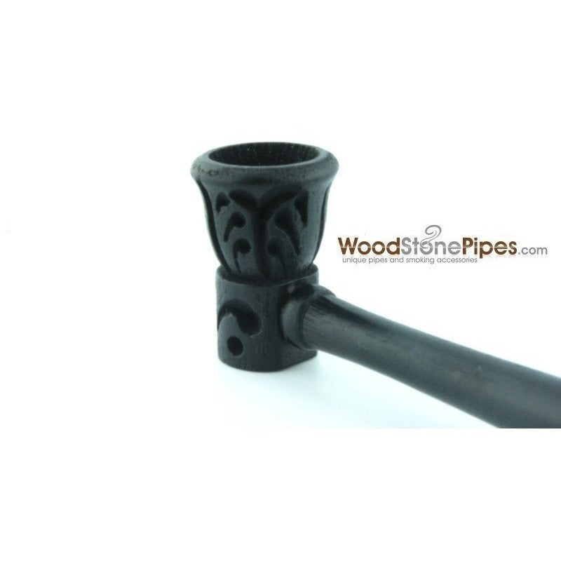 "Carved Ebony Wood Handmade Smoking Pipe 5.5"" - WoodStonePipes.com   - 3"