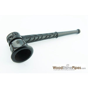 "Ebony Wood Handmade Carved Collectible Smoking Tobacco Pipe - 5.5"" - WoodStonePipes.com   - 1"
