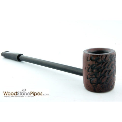 Elegant and Straight with Carved Finish Bowl Smoking Tobacco Pipe