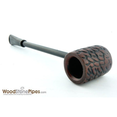 Elegant and Straight with Carved Finish Bowl Smoking Tobacco Pipe - WoodStonePipes.com   - 3