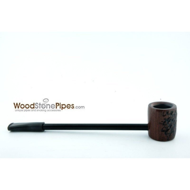 Elegant and Straight with Carved Finish Bowl Smoking Tobacco Pipe - WoodStonePipes.com   - 4