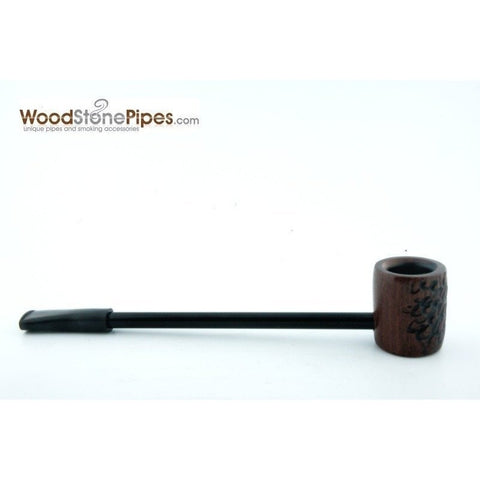 Elegant and Straight with Carved Finish Bowl Smoking Tobacco Pipe - WoodStonePipes.com   - 5