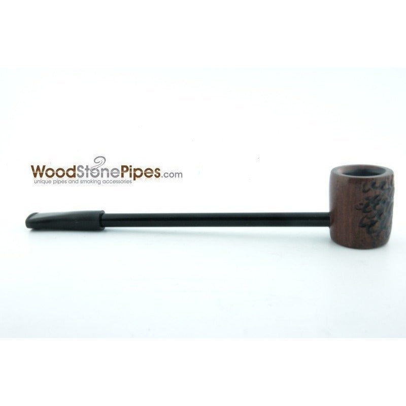 Elegant and Straight with Carved Finish Bowl Smoking Tobacco Pipe - WoodStonePipes.com   - 6