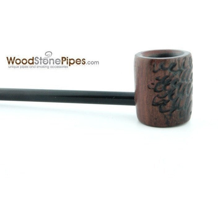 Elegant and Straight with Carved Finish Bowl Smoking Tobacco Pipe - WoodStonePipes.com   - 8