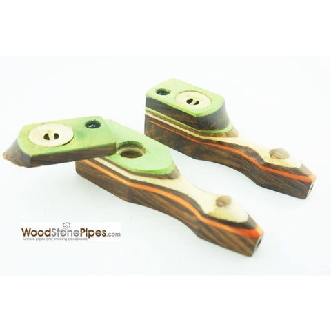 "Green Multi-Color Wooden Mini Smoking Pipe w/ Swivel Top - 3.5"" - WoodStonePipes.com   - 1"