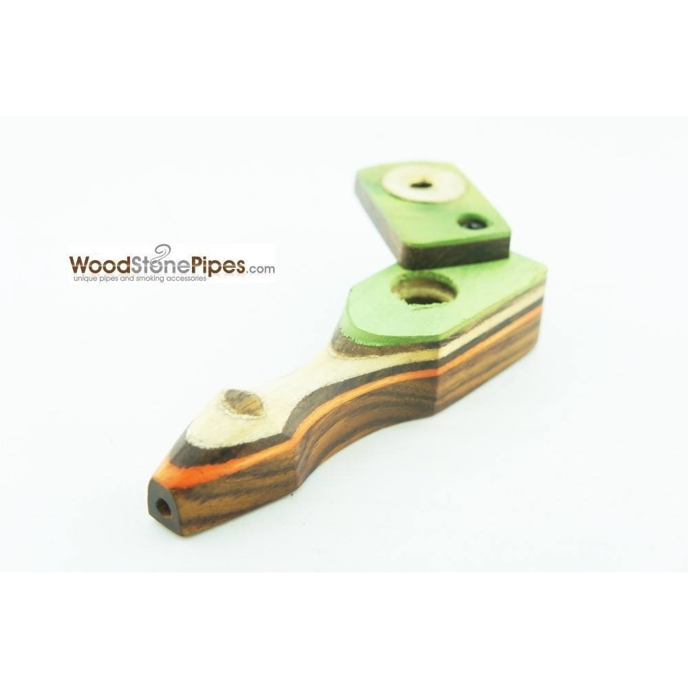 "Green Multi-Color Wooden Mini Smoking Pipe w/ Swivel Top - 3.5"" - WoodStonePipes.com   - 2"