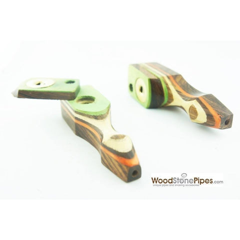 "Green Multi-Color Wooden Mini Smoking Pipe w/ Swivel Top - 3.5"" - WoodStonePipes.com   - 4"