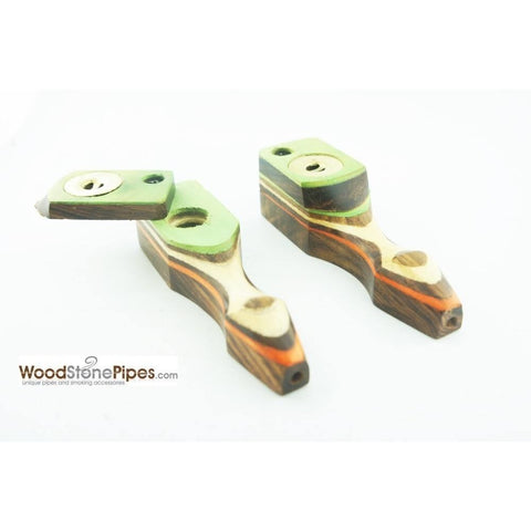 "Green Multi-Color Wooden Mini Smoking Pipe w/ Swivel Top - 3.5"" - WoodStonePipes.com   - 5"