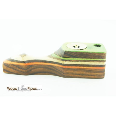 "Green Multi-Color Wooden Mini Smoking Pipe w/ Swivel Top - 3.5"" - WoodStonePipes.com   - 6"