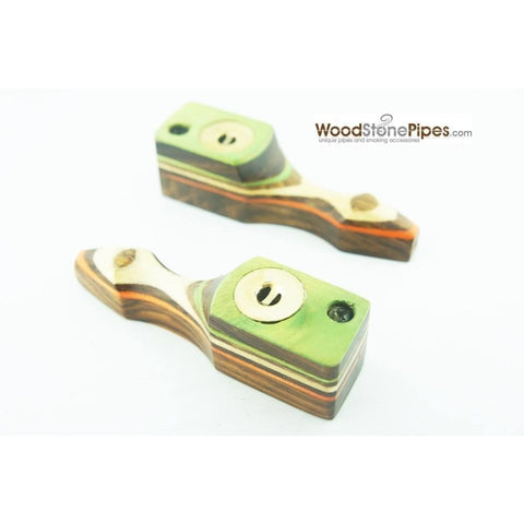 "Green Multi-Color Wooden Mini Smoking Pipe w/ Swivel Top - 3.5"" - WoodStonePipes.com   - 7"