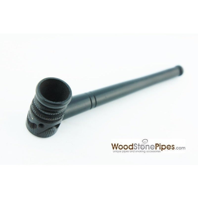 "Mini Pipe Black Ebony Wood Handmade Carved Collectible Smoking Tobacco Pipe - 4"" - WoodStonePipes.com   - 1"