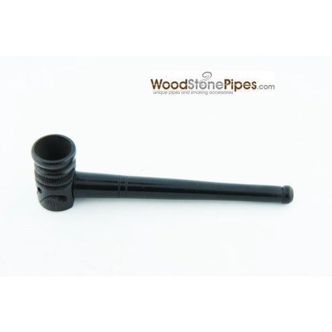 "Mini Pipe Black Ebony Wood Handmade Carved Collectible Smoking Tobacco Pipe - 4"" - WoodStonePipes.com   - 2"