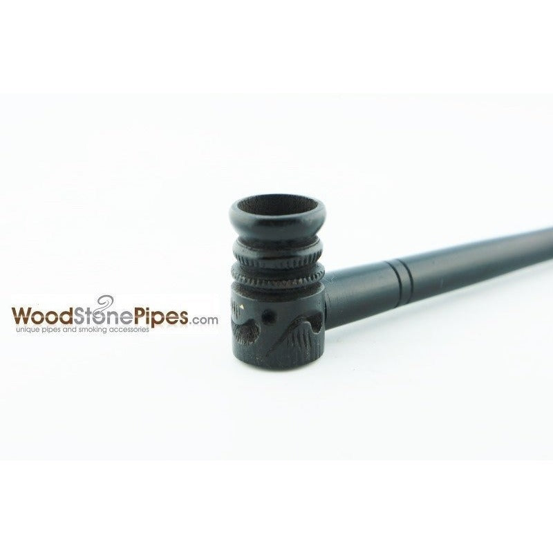 "Mini Pipe Black Ebony Wood Handmade Carved Collectible Smoking Tobacco Pipe - 4"" - WoodStonePipes.com   - 5"